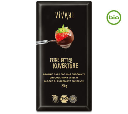 VIVANI ORGANIC VEGAN FINE BITTER CHOCOLATE-COUVERTURE 200g
