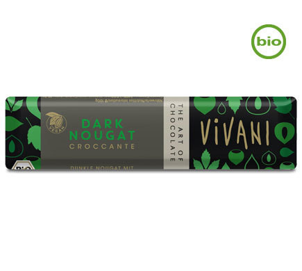 "Vivani DARK NOUGAT ""CROCCANTE"" chocolate bar with Hazelnut Brittle, organic, 35g"
