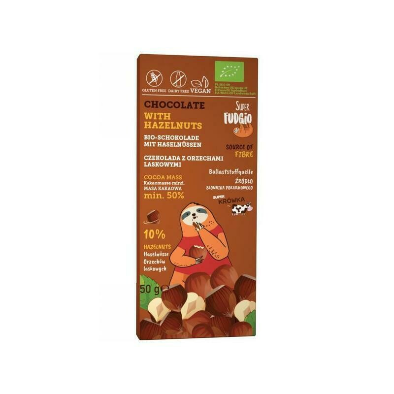 Organic Chocolate with organic, crushed Hazelnuts!