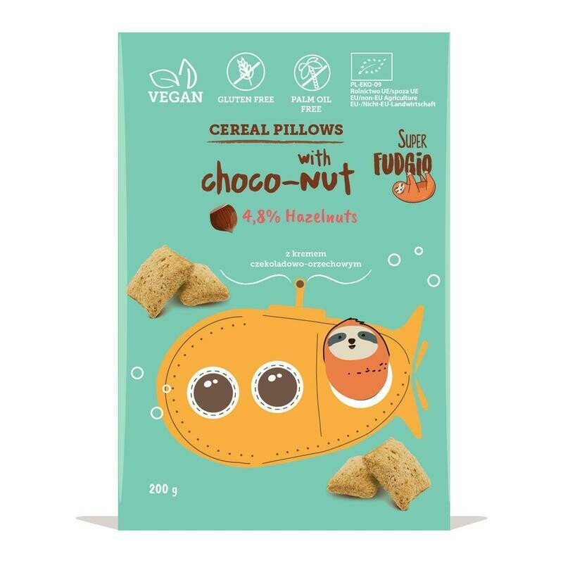 Organic Gluten Free Cereal Pillows Filled with Chocolate Hazelnut Cream (200g)