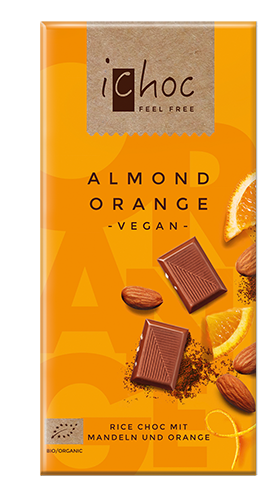 Ichoc Organic Almond Orange Rice Milk Chocolate 80g