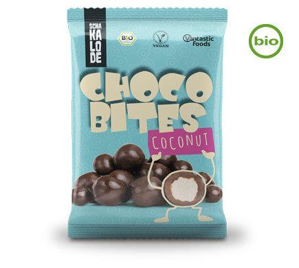 CHOCO-BITES ORGANIC COCONUT CRUNCHY CHUNKS COVERED WITH ORGANIC DARK CHOCOLATE 50g