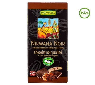 Rapunzel NIRWANA NOIR with Praliné filling, 100g - Organic and Fairtrade