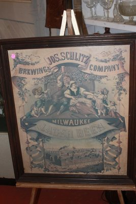 Vintage Jos. Schlitz Brewing Co. Milwaukee Poster Sign