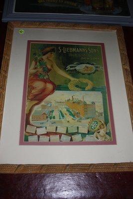 Framed Vintage S Leibmans Brewing Sign