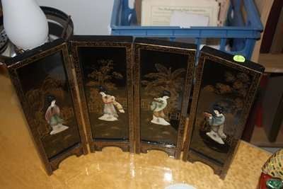 Old Oriental Table Screen Panels
