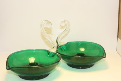 Green And Clear Swans Candel Holders
