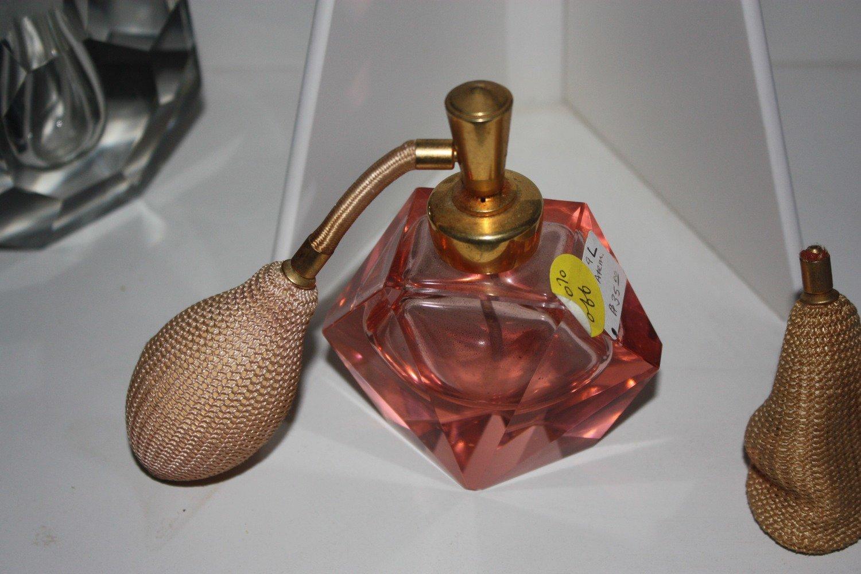 Old Pink Glass Atomizer