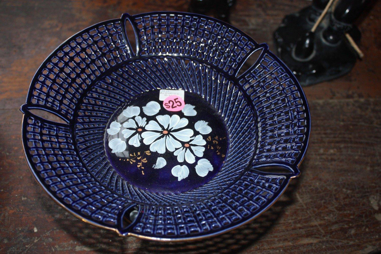 Blue Flowered Intricate Bowl