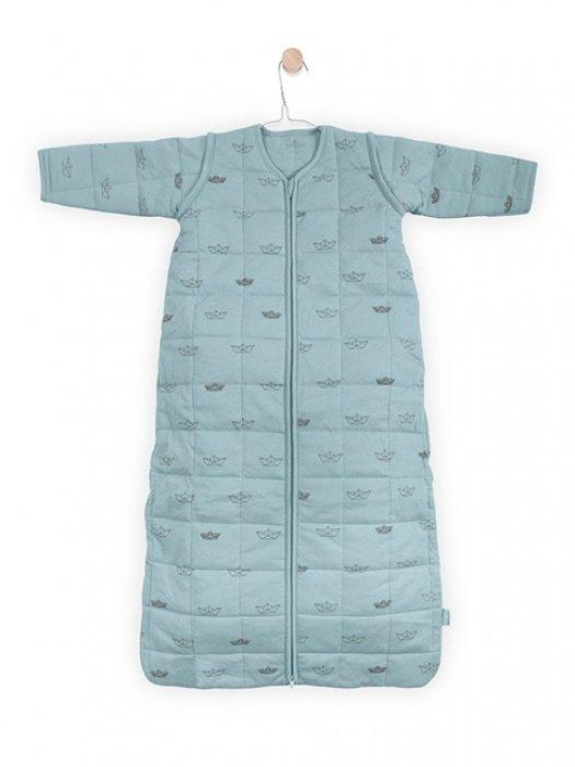 Jollein Утепленный спальный мешок с холлофайбером и съемными рукавами TOG 2,2 (серо-зеленые кораблики)