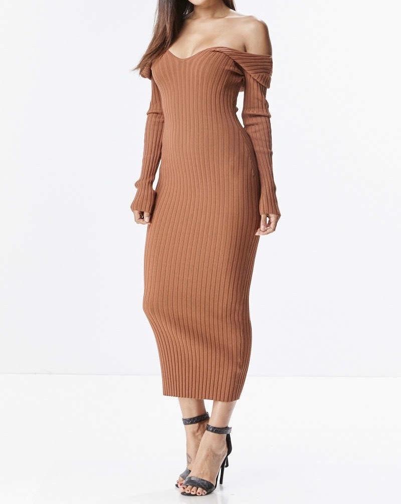 India Ribbed Midi Dress