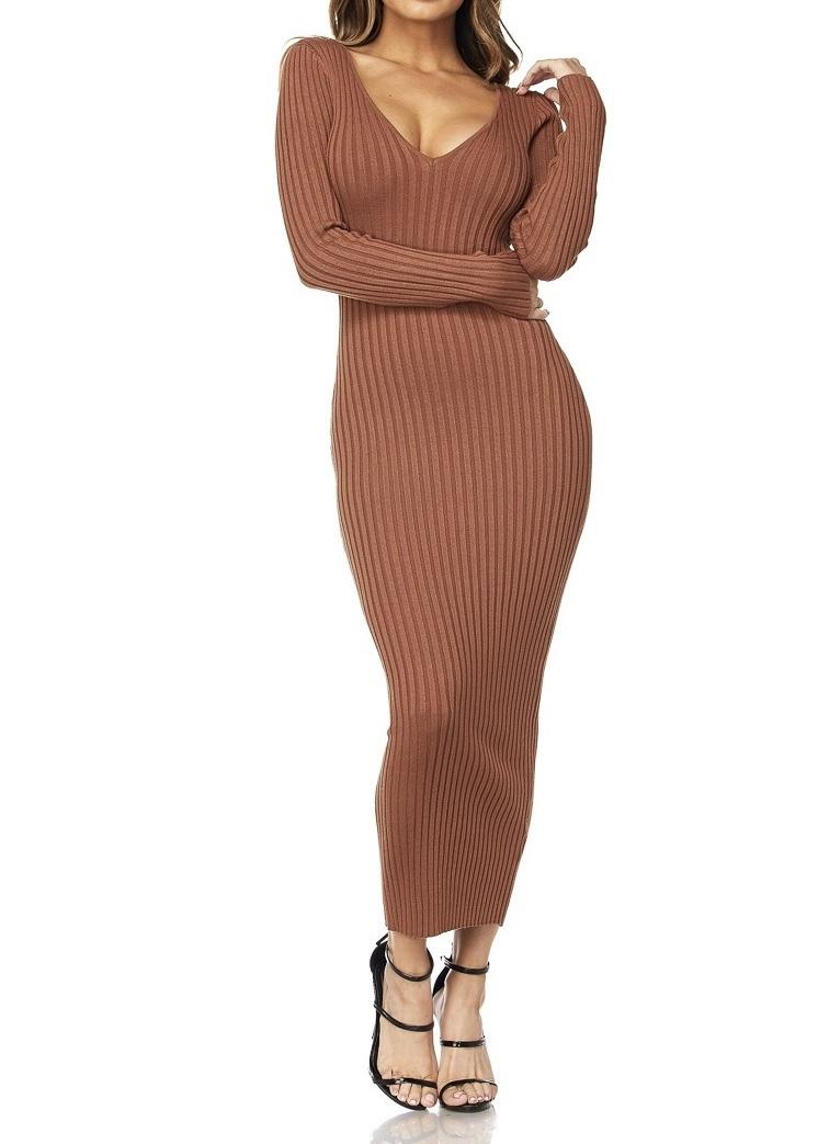 India Ribbed Midi Dress UPDR835-INDIA