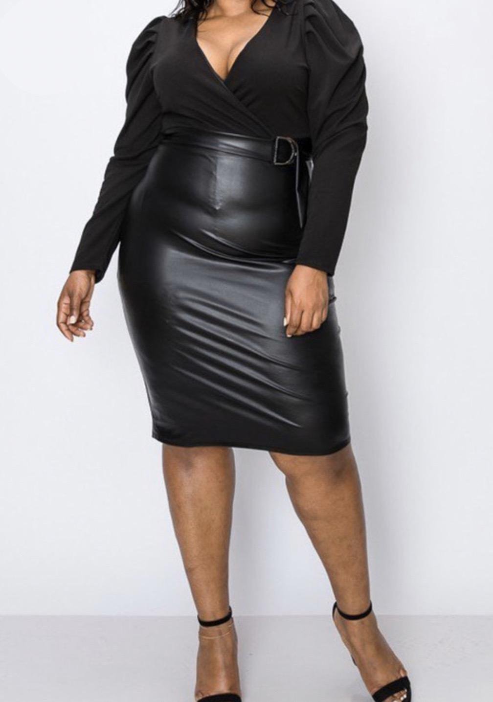 Marajah Belted Faux Leather Dress UPDR781-MARAJAH