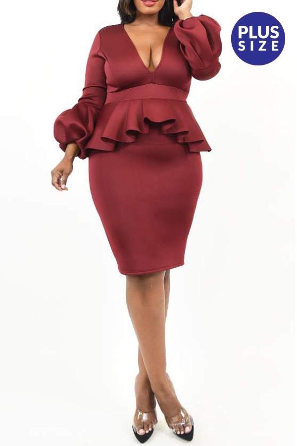 Whitney Peplum Bodycon Dress UPDR830-WHITNEY