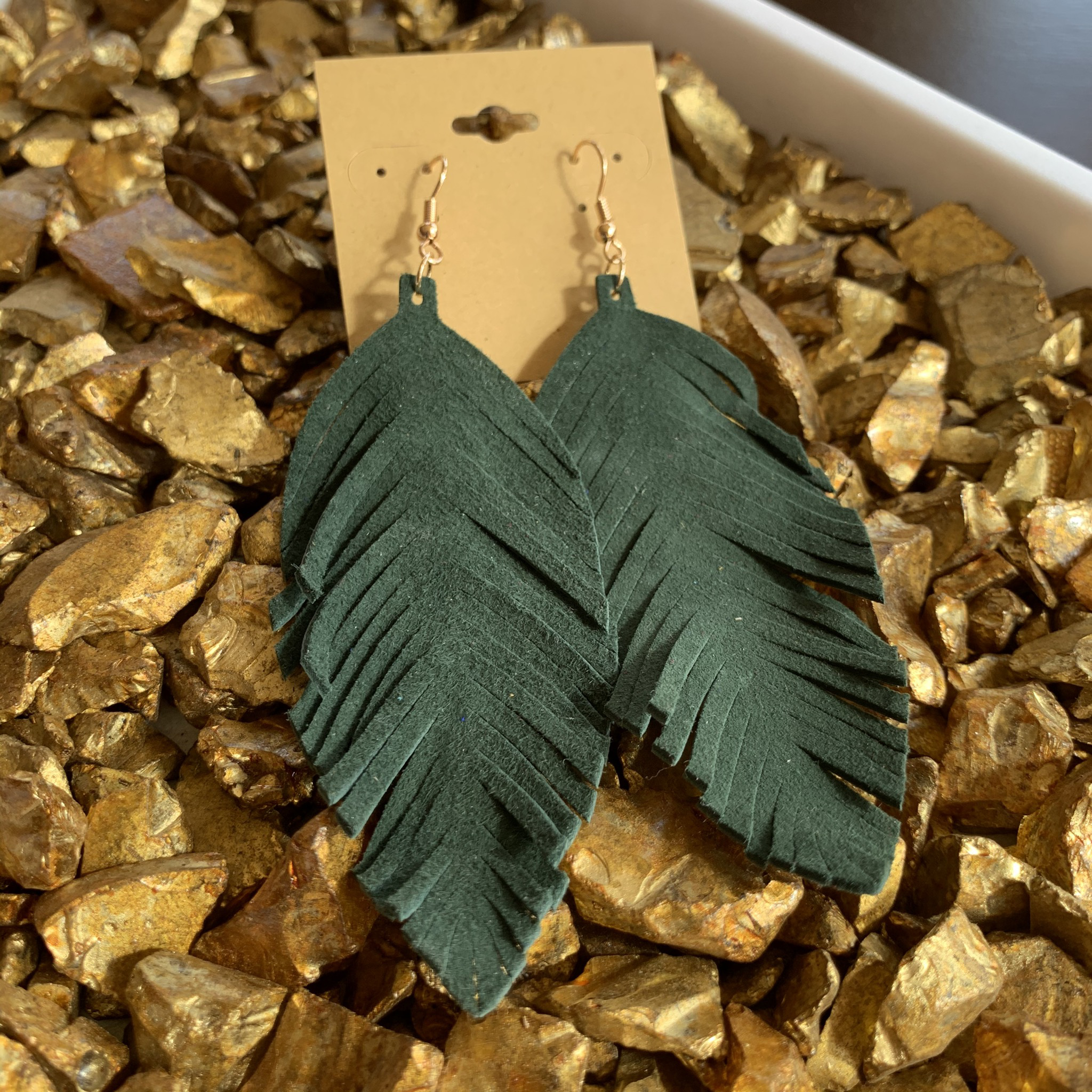 Leafy Faux Suede Earrings