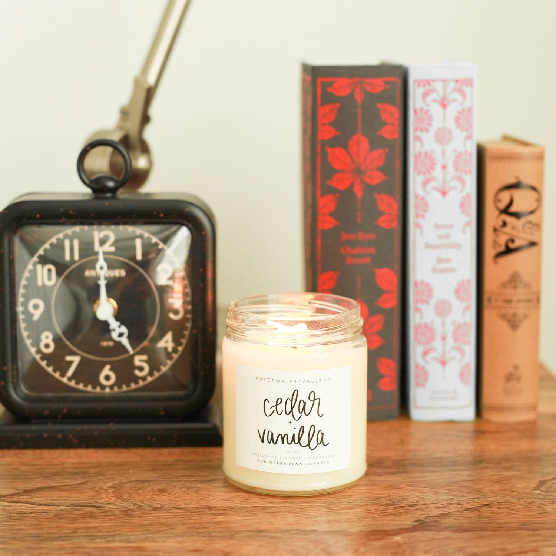 "Sweet Water Candle Co. ""Cedar & Vanilla"""