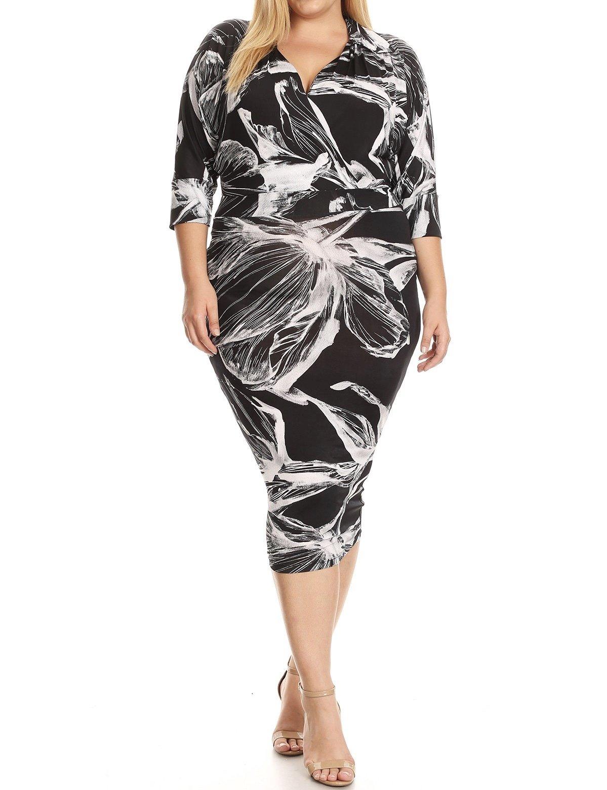 Iris Midi Dress Floral-Curvy UPDR515-IRISBLACKFLORAL