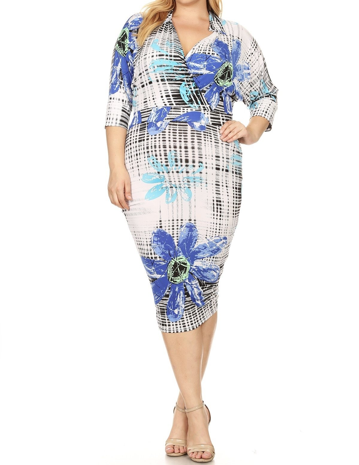 Iris Midi Dress Floral-Curvy UPDR515-IRISBLUEFLORAL