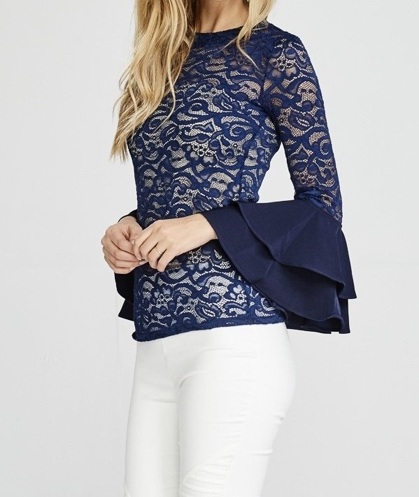 She's A Diva Lace Top-Navy-Side