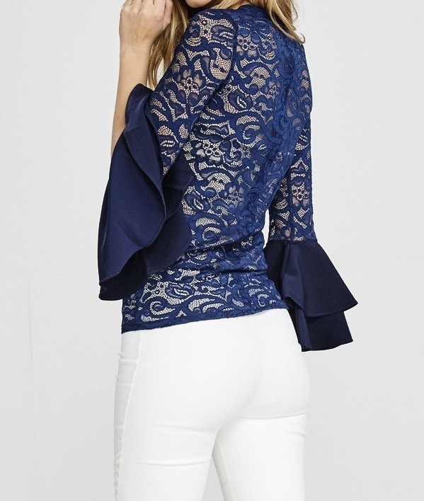She's A Diva Lace Top-Navy-Back