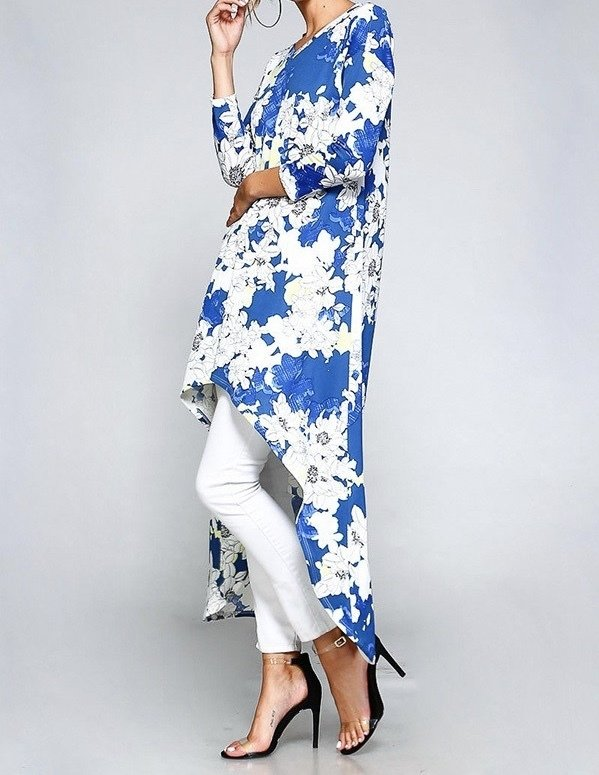 High's & Low's Tunic Top-Blue Floral-Side