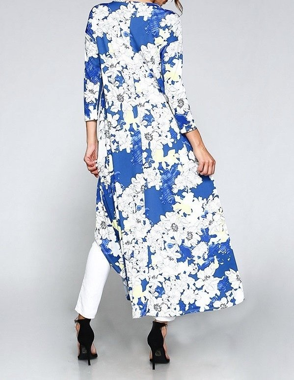 High's & Low's Tunic Top-Blue Floral-Back