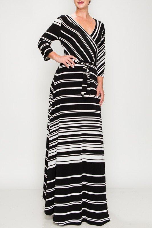 That's You Girl Maxi Dress - Black Striped UPDR625-THATSYOUGIRL-BLACKSTRIPED
