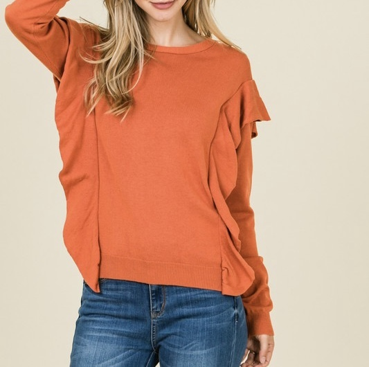 Sweet Pumpkin Ruffle Sweater UPSW682-SWEETPUMPKIN