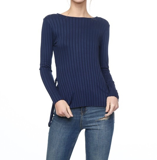 Blueberry Mist Ribbed Top UPSH681-BLUEBERRYMIST