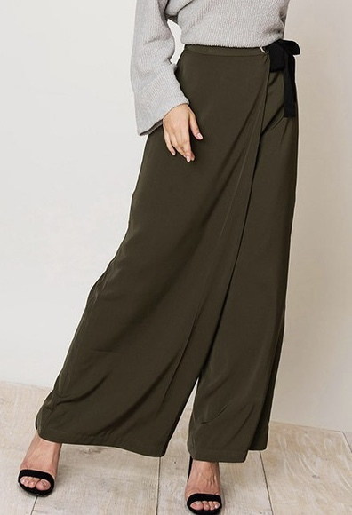 Pay Attention Wide Legged Pants Front View
