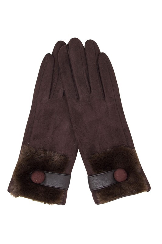 Faux Fur Trim Gloves