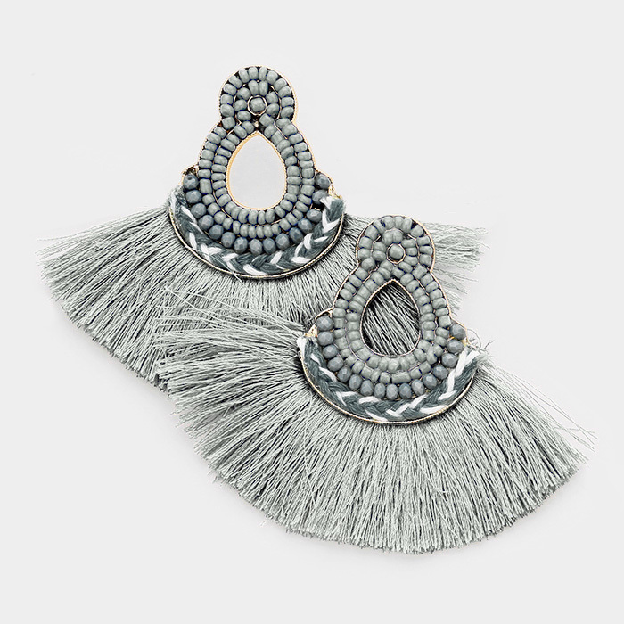 Mira Mira Tassel Earrings Grey