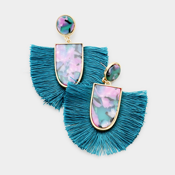 Kamari Tassel Earrings Teal