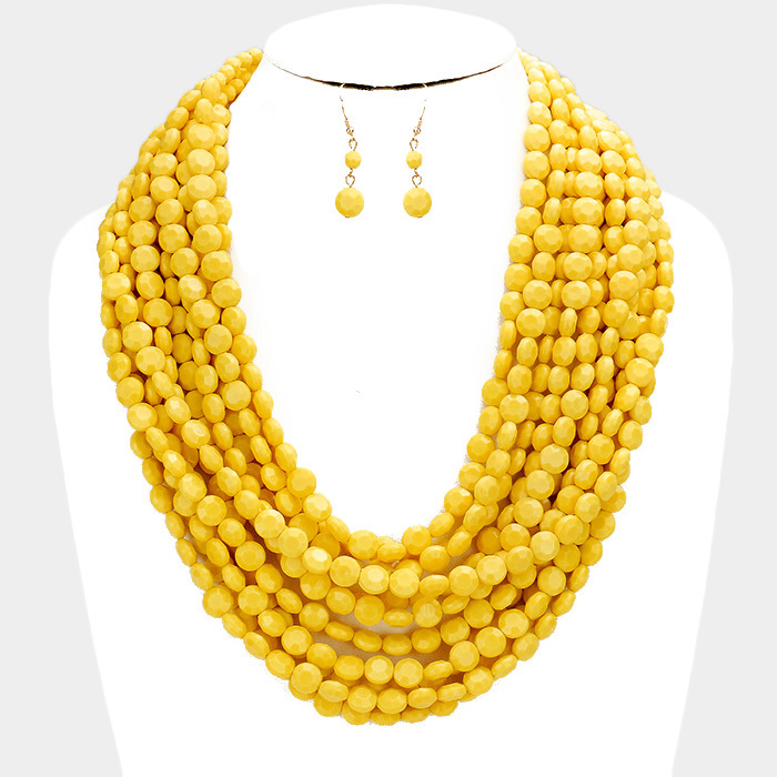 Oia Bauble Necklace Mustard