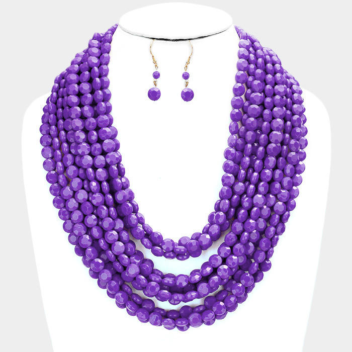 Oia Bauble Necklace Purple