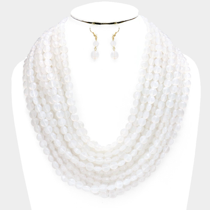 Oia Bauble Necklace Clear Frost