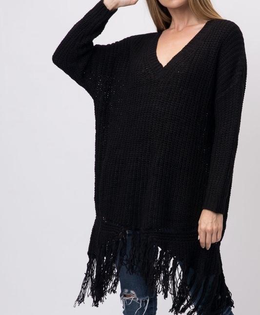 Ebony Oversized Fringe Sweater UPSW693-EBONY
