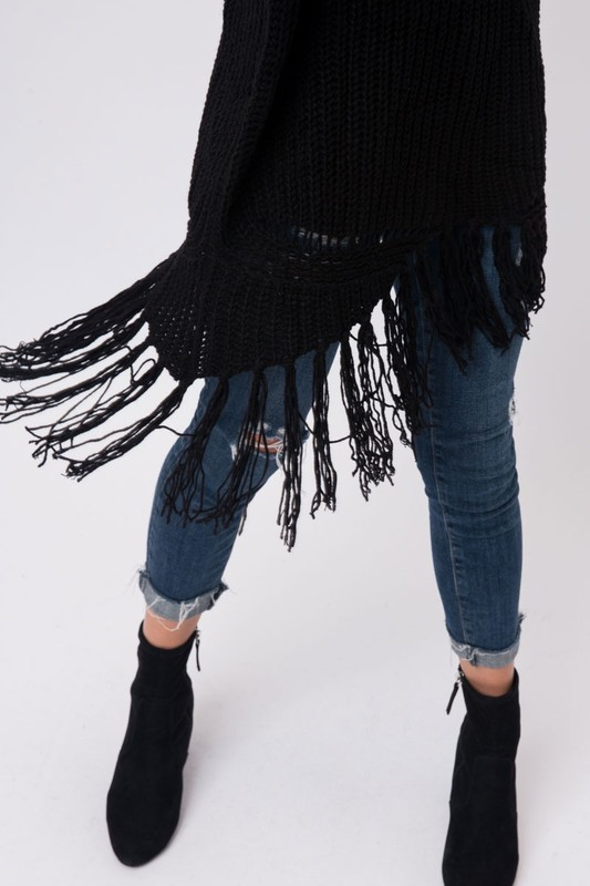 Ebony Oversized Fringe Sweater