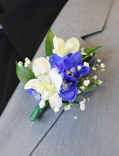Orchid & Delphinium Boutonniere 030A132-6401