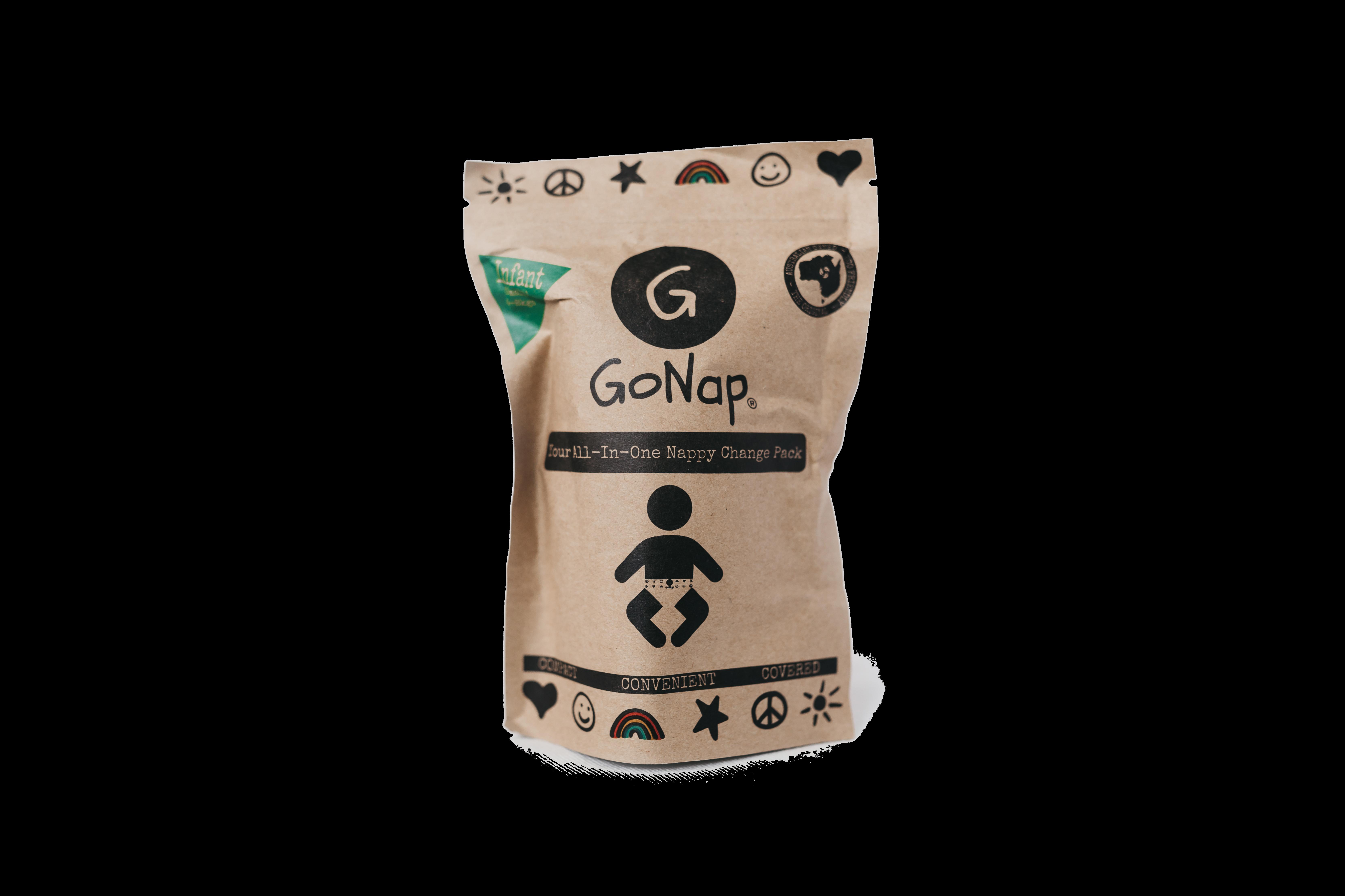 10 X GoNap - Eco Friendly Grab and Go Nappy Kit - Infant 00074