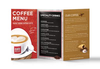Cafe Fairtrade Drinks Menu x30