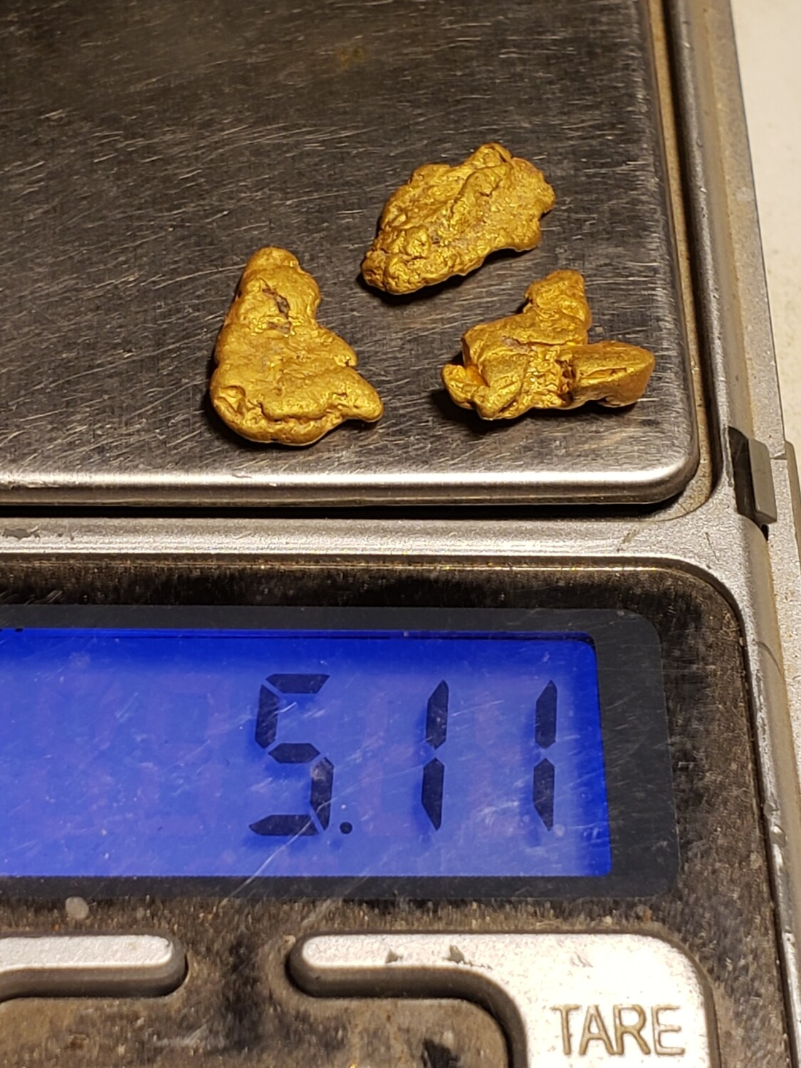 3 gold nuggets - 5.14 grams