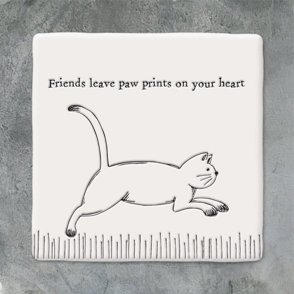 Square Coaster 'Friends Leave Paw Prints On Your Heart'