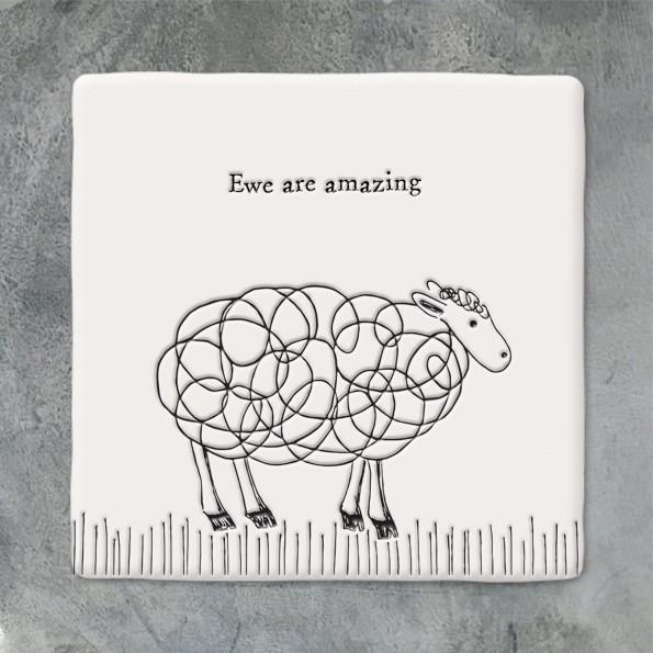 Square Coaster 'ewe Are Amazing'