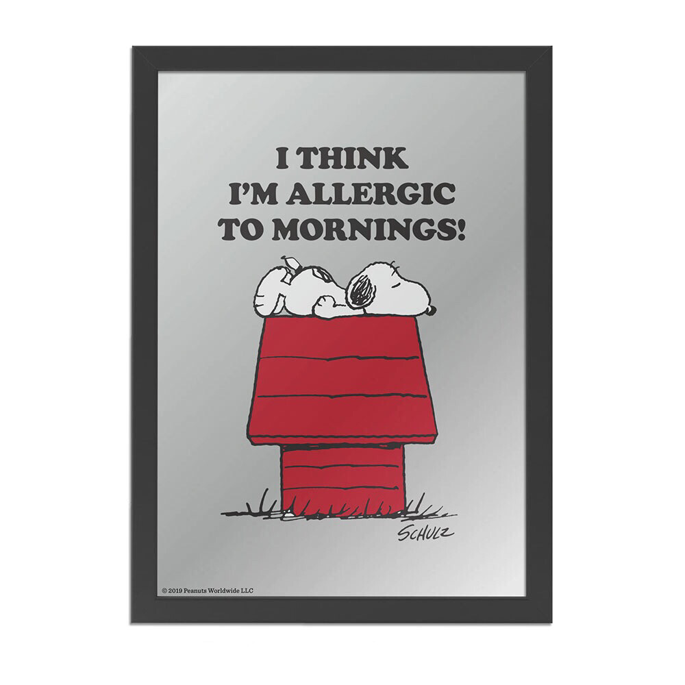 Snoopy Mirror 'think I'm Allergic to mornings'