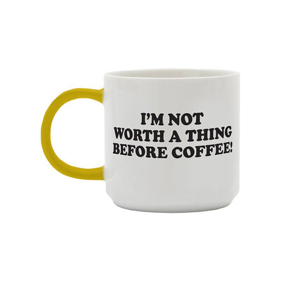 Snoopy Mug - 'I'm Not Worth A Thing Before Coffee'