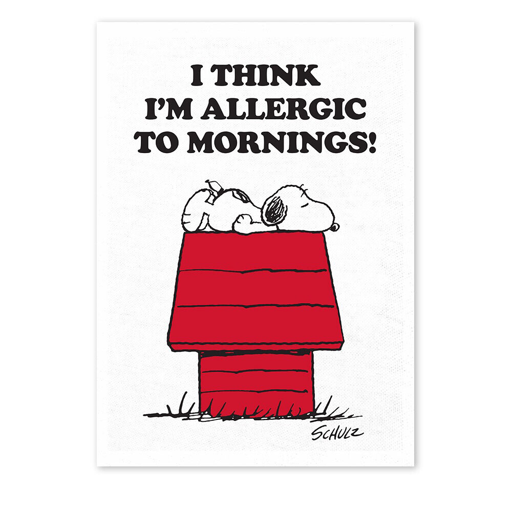 Snoopy Tea Towel 'i Think I'm Allergic To Mornings'