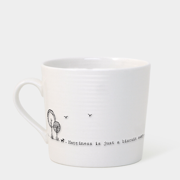 Boxed wobbly mug - 'happiness is just a biscuit away'
