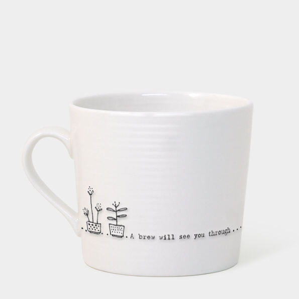 Boxed wobbly mug - 'a brew will see you through'
