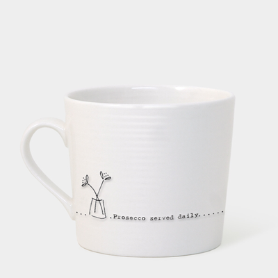 Boxed wobbly mug - 'prosecco served daily'